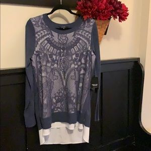 Simply Vera Wang dusty blue lace lined sweater NWT